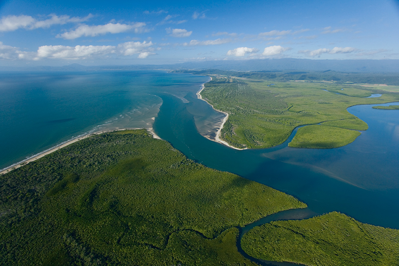 Aerial photo of the mouth of the Daintree River